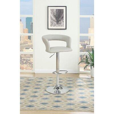 Dougan Adjustable Height Swivel Bar Stool Upholstery: Cream