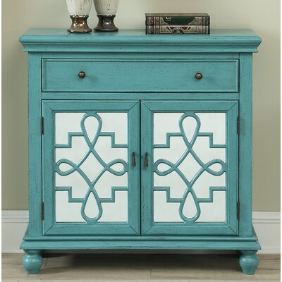 Guerin 2 Door 1 Drawer Accent Cabinet Color: Teal