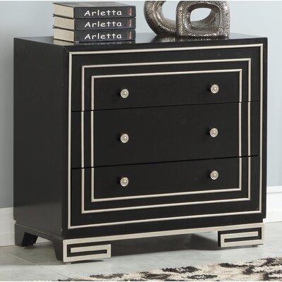 Castille 3 Drawer Accent Chest Color: Black