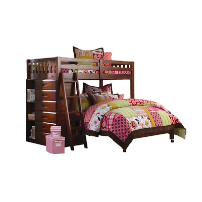 Risley Twin over Full L-Shaped Bunk Bed with Bookshelves and Storage