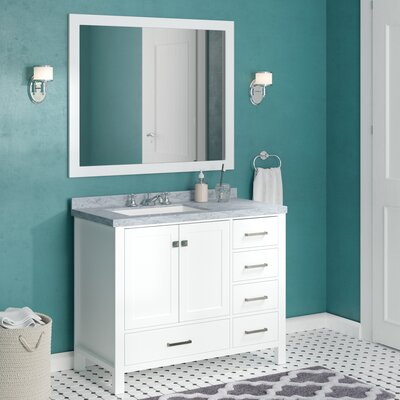 "Marine 42"" Single Bathroom Vanity Set with Mirror Base Finish: White"