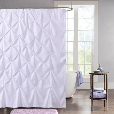 Taya Pintuck Fabric Shower Curtain Color: White