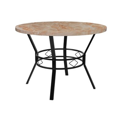 "Rhett Swirled Dining Table Size: 29.5"" H x 42"" W x 42"" D, Top Color: Quartz"