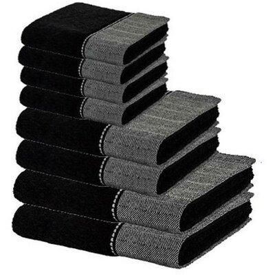 Chism Premium 8 Piece 100% Cotton Towel Set Color: Black