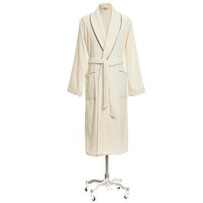 Verbena Shawl Collar Velours Cotton Bathrobe Color: Ivory, Size: Small