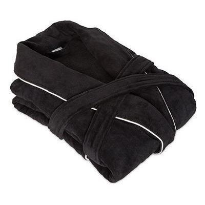 Verbena Shawl Collar Velours Cotton Bathrobe Size: Extra Extra Large, Color: Black