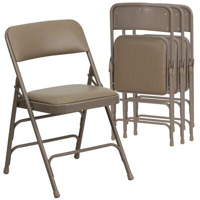 Laduke Curved Vinyl Padded Folding Chair Color: Beige