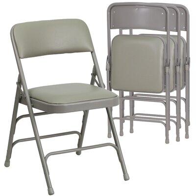 Laduke Curved Vinyl Padded Folding Chair Color: Gray
