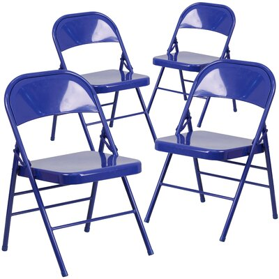 Laduke Metal Folding Chair Color: Cobalt Blue