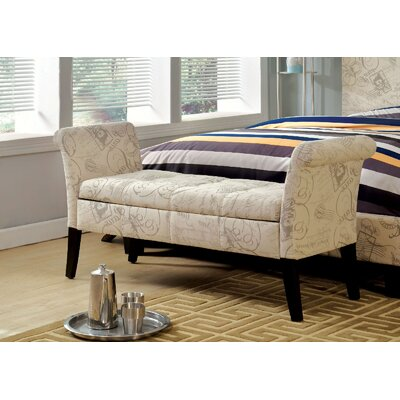 Pipers Upholstered Storage Bench Color: Cream
