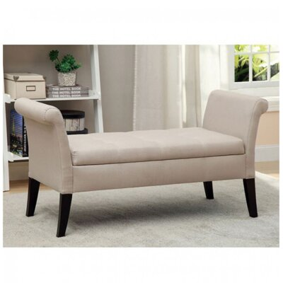 Pipers Upholstered Storage Bench Color: Ivory
