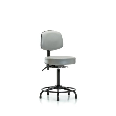 Zachary Round Tube Base Height Adjustable Lab Stool Seat Color: Dove, Foot Type: Glides