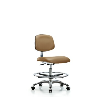 Yareli Medium Bench Ergonomic Office Chair Casters/Glides: Casters, Color (Upholstery): Taupe