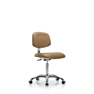 Chloe Medium Bench Ergonomic Office Chair Casters/Glides: Casters, Color (Upholstery): Taupe