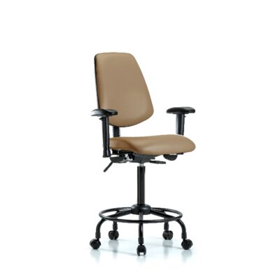 Natasha Round Tube Base Ergonomic Office Chair Casters/Glides: Casters, Tilt Function: Included, Color: Taupe