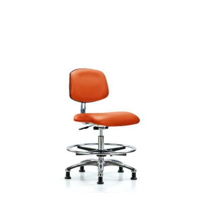 Yareli Medium Bench Ergonomic Office Chair Casters/Glides: Glides, Color (Upholstery): Orange