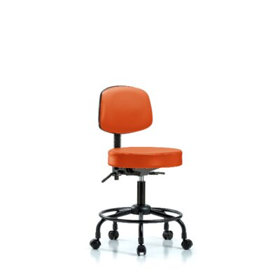 Soren Round Tube Base Height Adjustable Lab Stool Foot Type: Casters, Seat Color: Orange