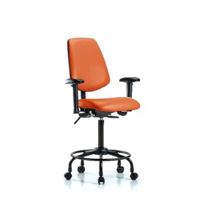 Natasha Round Tube Base Ergonomic Office Chair Casters/Glides: Casters, Tilt Function: Included, Color: Orange