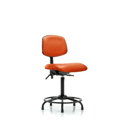 Sky Round Tube Base Ergonomic Office Chair Casters/Glides: Glides, Tilt Function: Included, Color: Orange