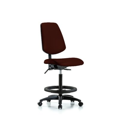 Jana High BenchErgonomic Office Chair Color: Burgundy, Casters/Glides: Casters, Tilt Function: Not Included