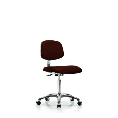 Chloe Medium Bench Ergonomic Office Chair Color (Upholstery): Burgundy, Casters/Glides: Casters