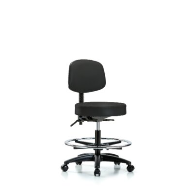 Monserrat Medium Bench Height Adjustable Lab Stool With Back Nylon Base Seat Color: Black, Foot Type: Casters