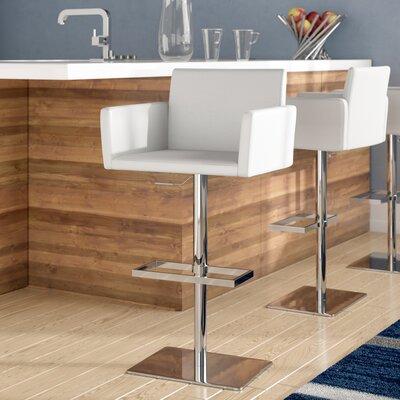 Tuller Adjustable Height Swivel Bar Stool Color: White