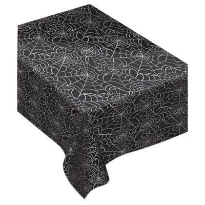 Halloween Spider Web Flannel Backed Vinyl Tablecloth
