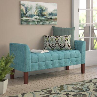 Oakham Upholstered Storage Bench Color: Teal