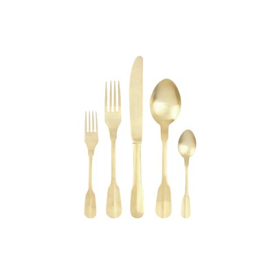 Madrid 5 Piece 18/10 Stainless Steel Flatware Set Color: Gold