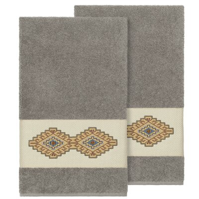 Embassy Embellished Turkish Cotton Bath Towel Color: Dark Gray