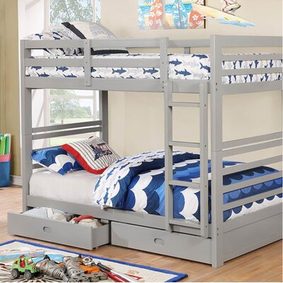 Post Twin Over Twin Bunk Bed with Drawers Bed Frame Color: Gray