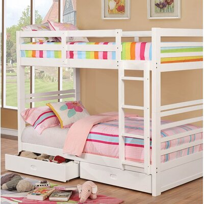 Post Twin Over Twin Bunk Bed with Drawers Bed Frame Color: White