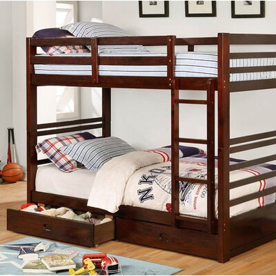 Post Twin Over Twin Bunk Bed with Drawers Bed Frame Color: Dark Walnut
