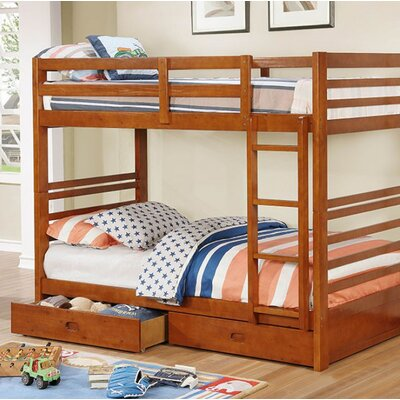 Post Twin Over Twin Bunk Bed with Drawers Bed Frame Color: Oak