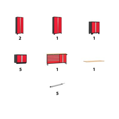 Bold 11 Piece Complete Storage System Lighting: 5 LEDs, Worktop Material: Bamboo, Finish: Red
