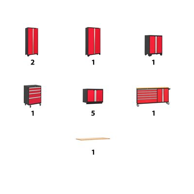 Bold 12 Piece Complete Storage System Worktop Material: Bamboo, Lighting: No, Finish: Red