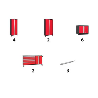 Bold 12 Piece Complete Storage System Lighting: 6 LEDs, Finish: Red, Worktop Material: Stainless Steel