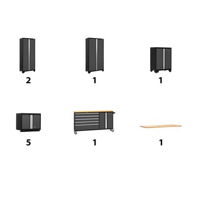 Bold 11 Piece Complete Storage System Worktop Material: Bamboo, Finish: Gray, Lighting: No