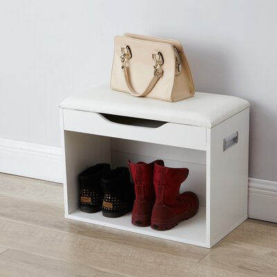 Compact Storage Bench Color: White