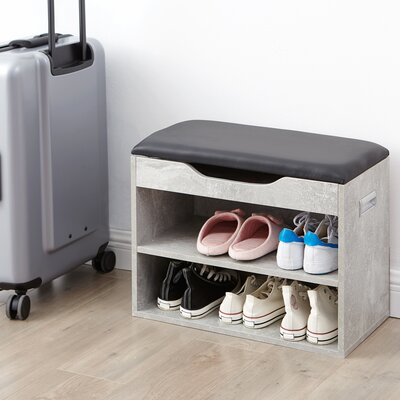 Compact Shoe Storage Bench with Top Cushion Color: Marble Gray