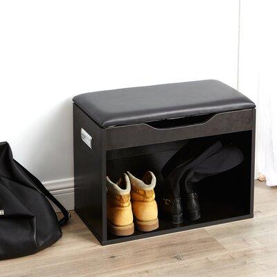 Compact Storage Bench Color: Black