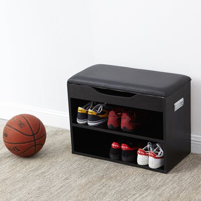Compact Shoe Storage Bench with Top Cushion Color: Black