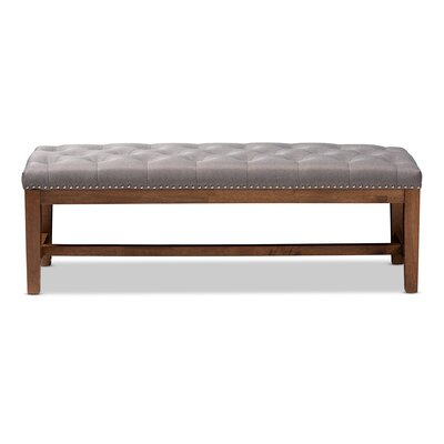 Chon Wood Bench Upholstery: Gray