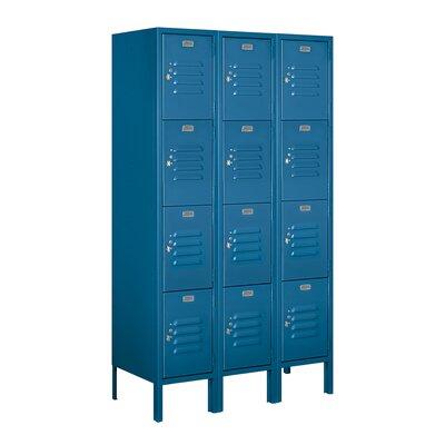 "4 Tier 3 Wide Employee Locker Size: 66"" H x 36"" W x 15"" D, Color: Blue, Assembly: Unassembled"