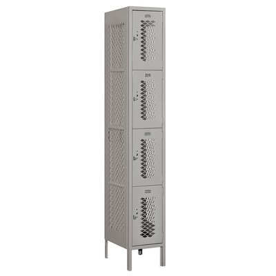 """4 Tier 1 Wide Employee Locker Size: 78"""" H x 12"""" W x 18"""" D, Assembly: Assembled, Color: Gray"""