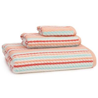 Gazaway Provence 3 Piece 100% Cotton Towel Set Color: Coral