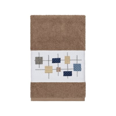 Hayek Embellished Turkish Cotton Hand Towel Color: Latte