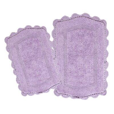 Moris Reversible 100% Cotton 2 Piece Bath Rug Set Color: Lavender