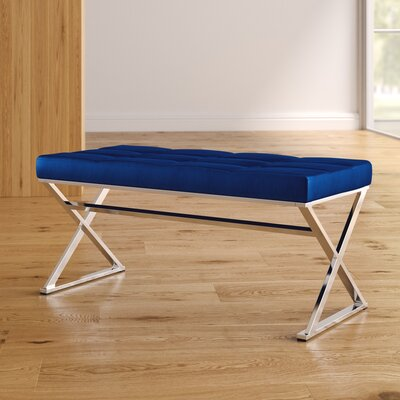 Ruckman Upholstered Bench Color: Blue